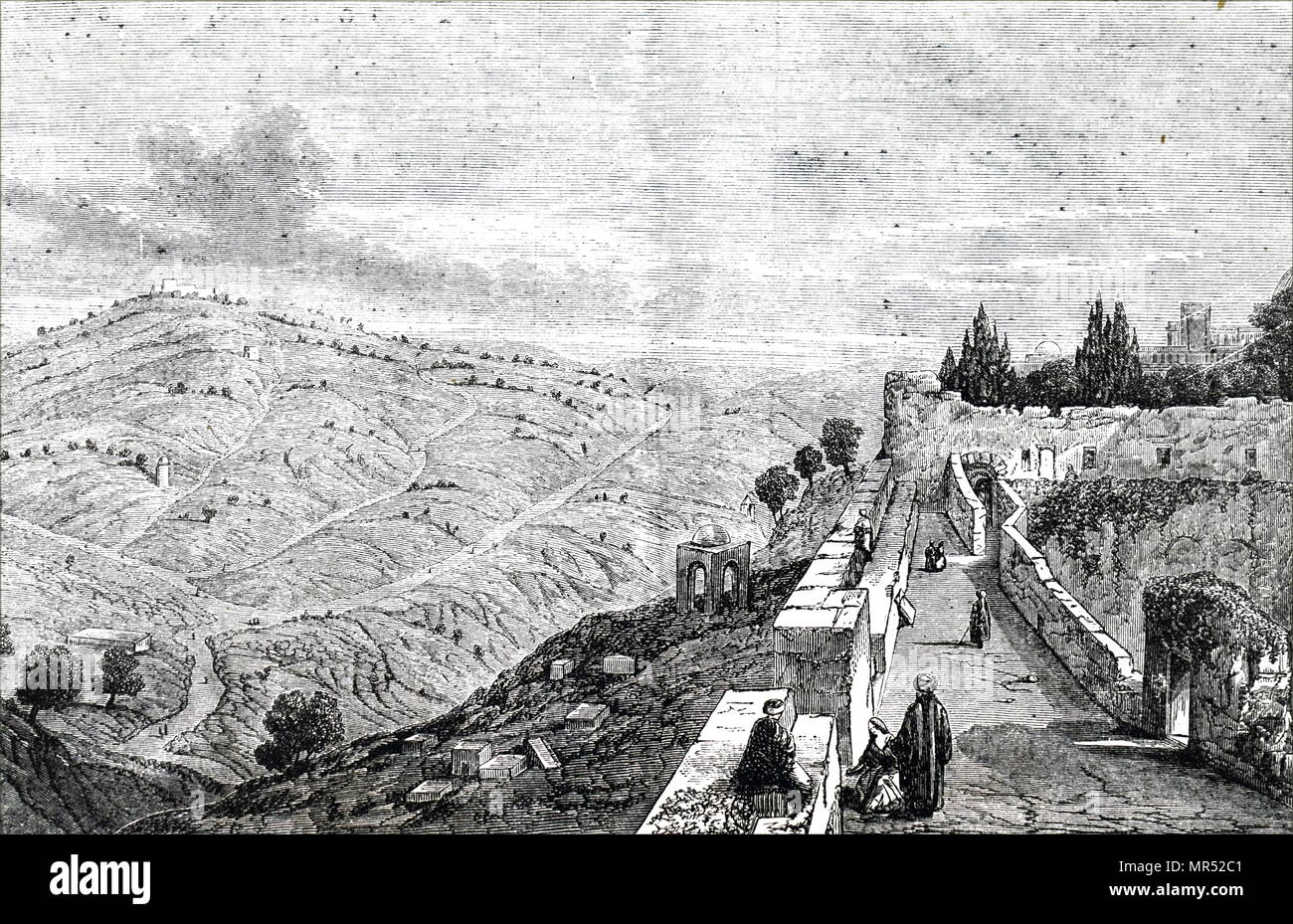 Illustration depicting a view of Mount of Olives (or Mount Olivet) mountain ridges east of and adjacent to Jerusalem's Old City. It is named for the olive groves that once covered it's slopes. Dated 19th century Stock Photo
