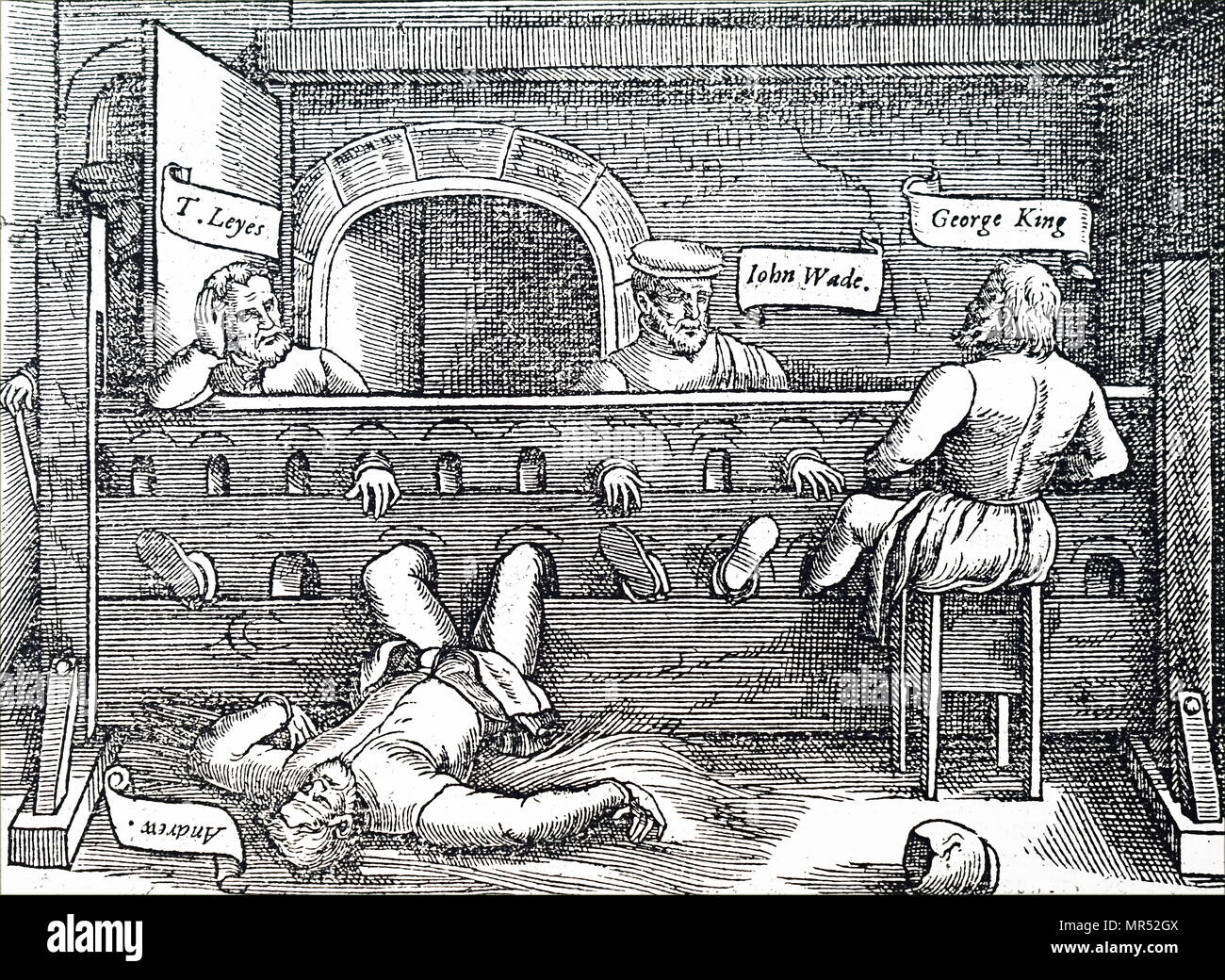 Engraving depicting prisoners confined in stocks in the Lollards Tower, Lambeth. Dated 14th century - Stock Image