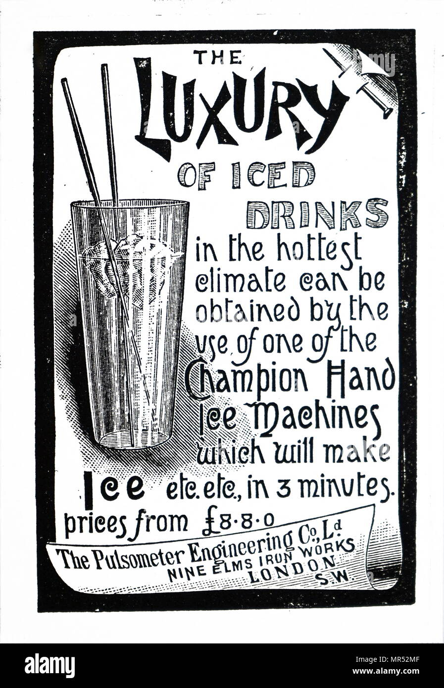 Advertisement for Champion Ice Machines. Dated 19th century - Stock Image