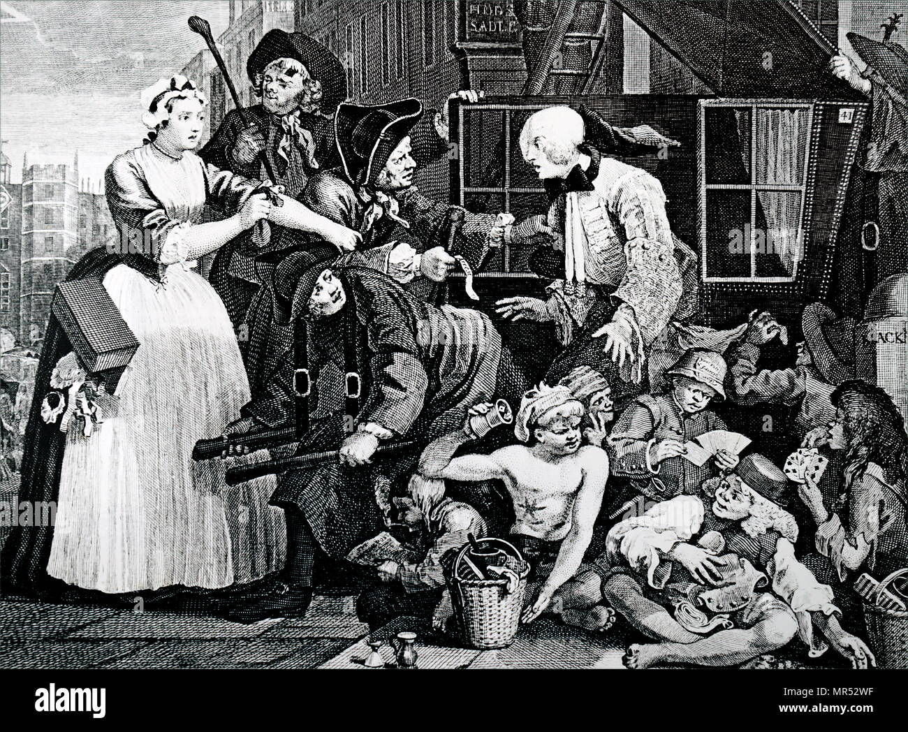 Engraving titled 'The Rake's Progress' by William Hogarth. The Rake is being arrested in sight of St James's Palace, while young boys sit gaming on the pavement. The one on the right foreground appears to be a congenital syphilitic. William Hogarth (1697-1764) an English painter, printmaker, pictorial satirist, social critic, and editorial cartoonist. Dated 19th century - Stock Image