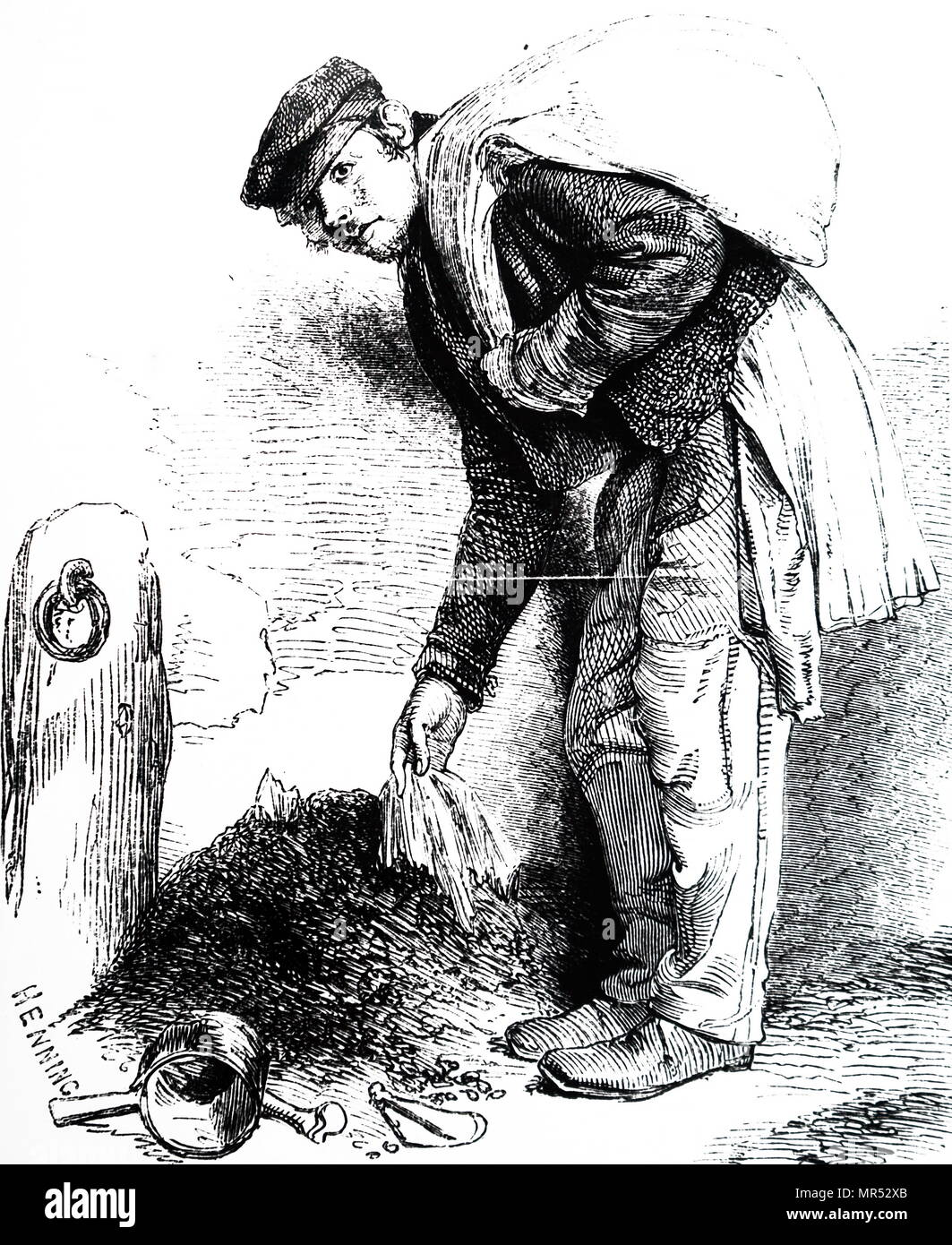 Engraving depicting a mud lark: these boys scavenged in the mud along the banks of the Thames and sold their findings to bone or bottle or other merchants. Dated 19th century - Stock Image