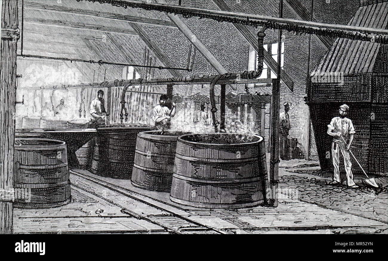 Illustration depicting large vats used for boiling fatty matter collected off the surface of the Seine at the sewer outfalls. The fat rose to the surface and was removed to be treated with lime and used for the production of soap and glycerine. The solid matter was saved and was used to fire the boilers. Dated 19th century - Stock Image