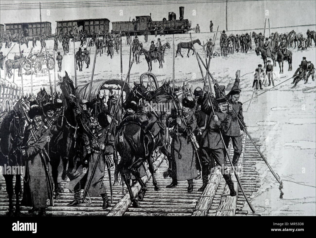 Illustration depicting a Russian cavalry using the Trans-Siberian Railway. Dated 20th century - Stock Image