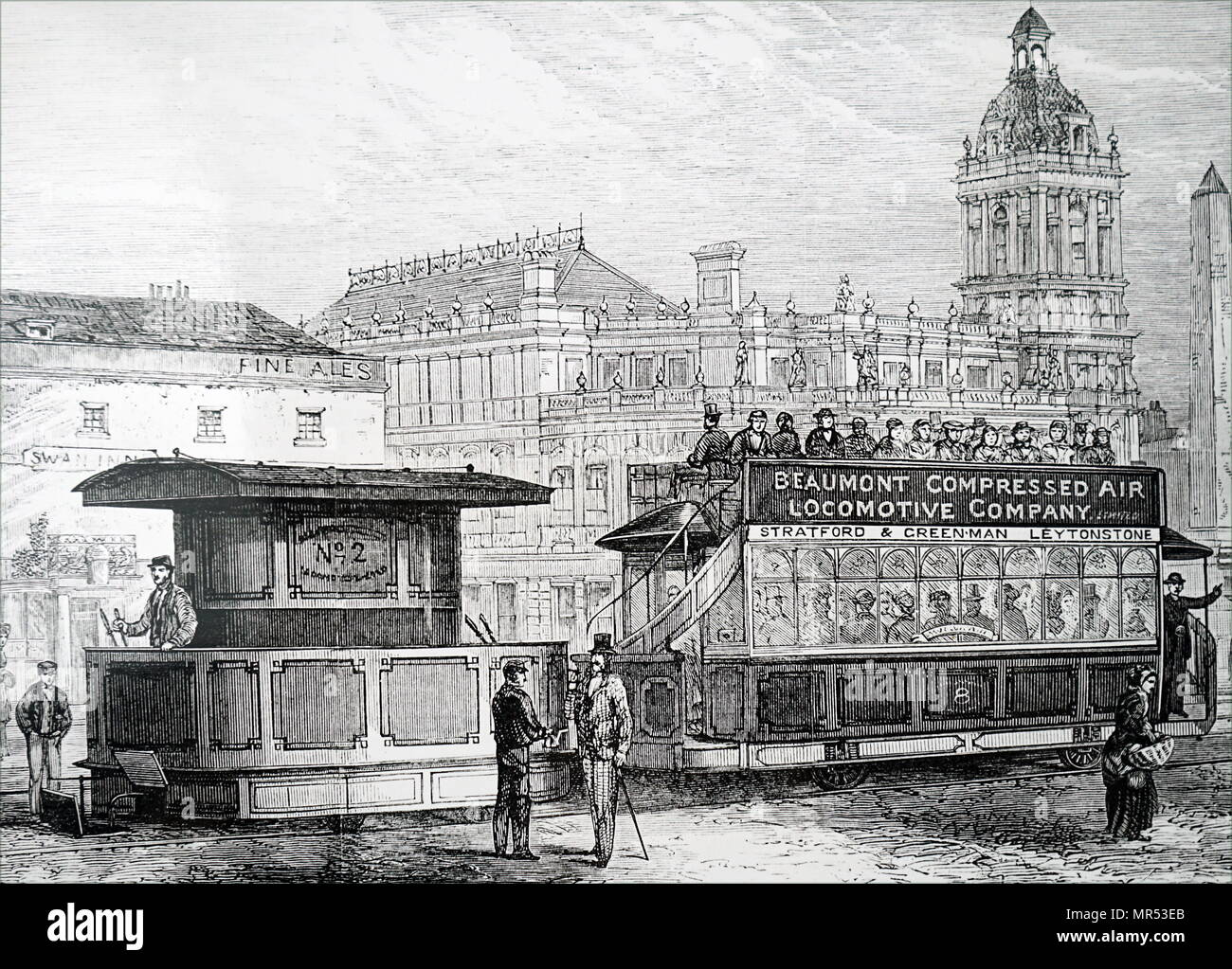 Illustration depicting a tram driven by a compressed air engine, introduced on the Stratford to Epping Forest branch of the North Metropolitan Tramways. Dated 19th century - Stock Image