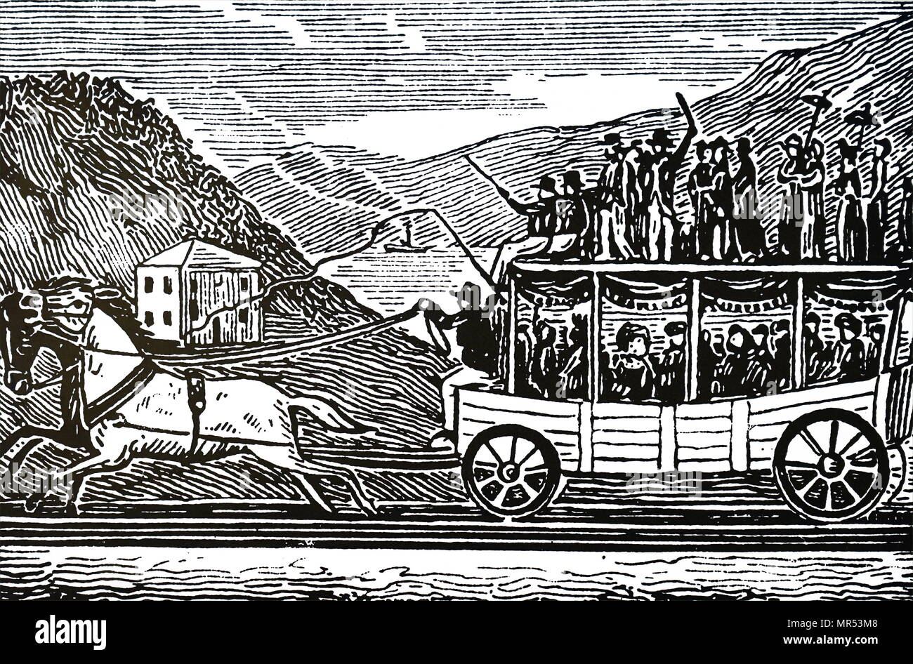 Engraving depicting a horse-drawn carriage on the Baltimore and Ohio Railroad. Dated 19th century - Stock Image