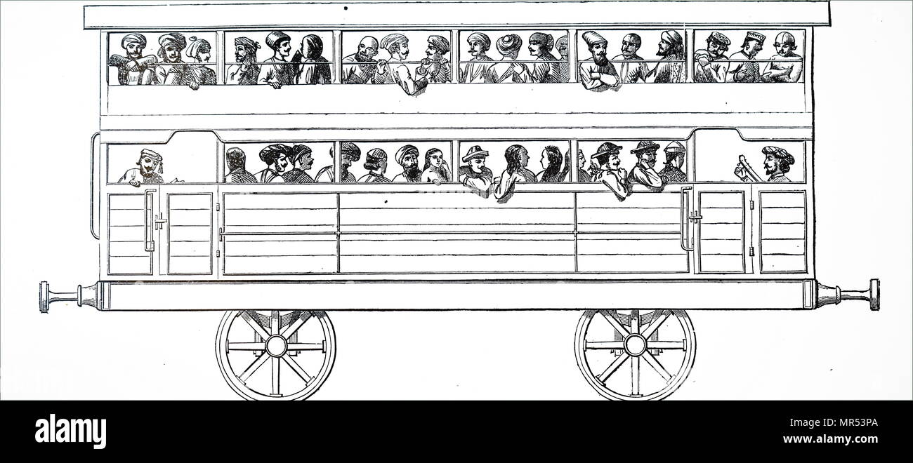 Cartoon depicting a double-deck third class carriage on the Bombay, Baroda and Central India Railway. Dated 19th century - Stock Image