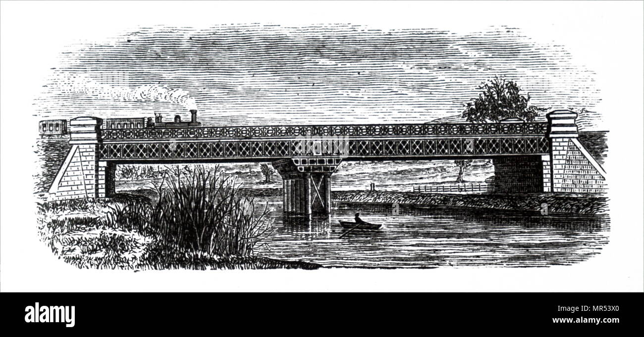 Engraving depicting a lattice girder bridge which forms part of the Mangotsfield branch of the Midland Railway. Dated 19th century Stock Photo