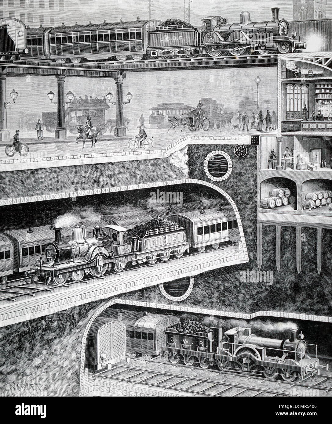 Sectional view of London's transport system at Queen Victoria Street. Top is the London, Catham & Dover Railway. Bottom: City and Waterloo Railway. Dated 19th century - Stock Image
