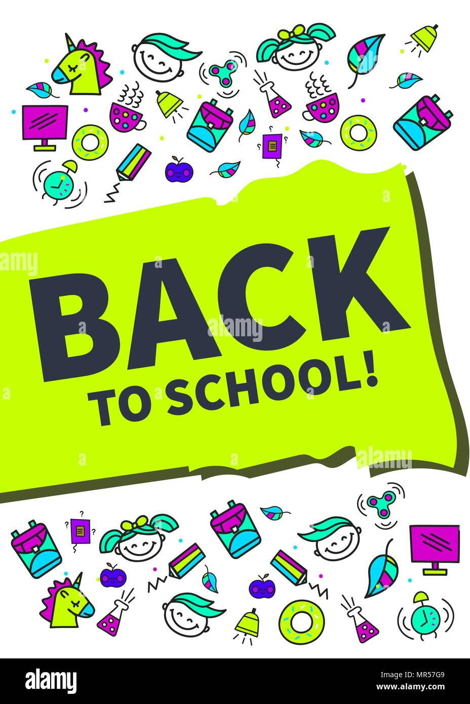 Back To School Banner In Cartoon Style Template Background Flyer