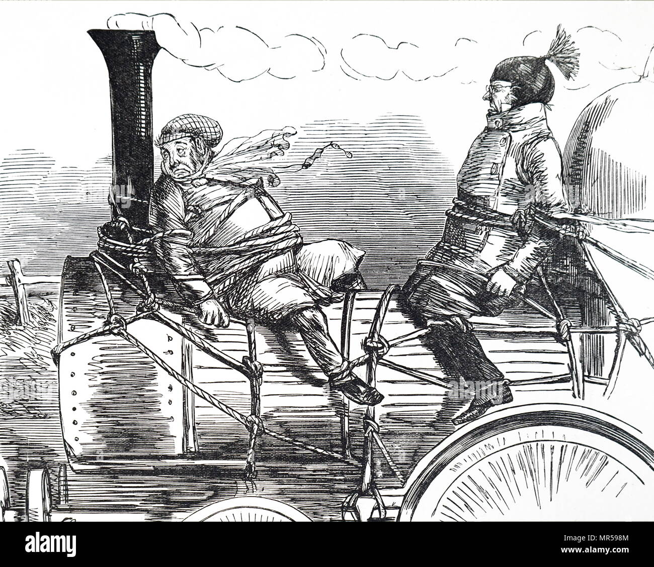 British, cartoon illustrating the impact of fast travel by rail. . Dated mid-19th century - Stock Image