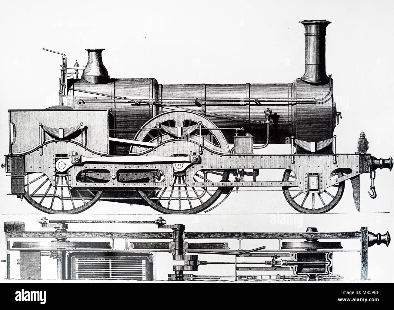 Engraving depicting a 2-4-0 locomotive for the Great Northern Railway designed by Archibald Sturrock and built by J. Fowler & Co., of Leeds. Archibald Sturrock (1816-1909) a Scottish mechanical engineer who was born at Petruchie, Angus, Scotland. Dated 19th century - Stock Image