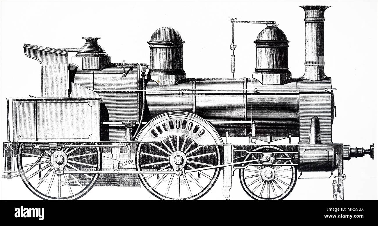 Engraving depicting a 2-4-0 locomotive for the Bergisch-Marische Railway designed by Archibald Sturrock and built by J. Fowler & Co., of Leeds. Archibald Sturrock (1816-1909) a Scottish mechanical engineer who was born at Petruchie, Angus, Scotland. Dated 19th century - Stock Image