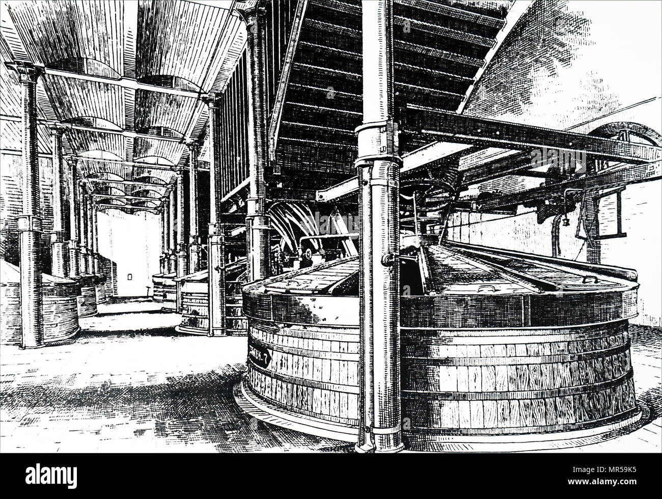 Engraving a scene from within the WM Younger & Co., Holyrood Brewery - the mashing stage, where malt and water were thoroughly mixed together. Dated 19th century - Stock Image