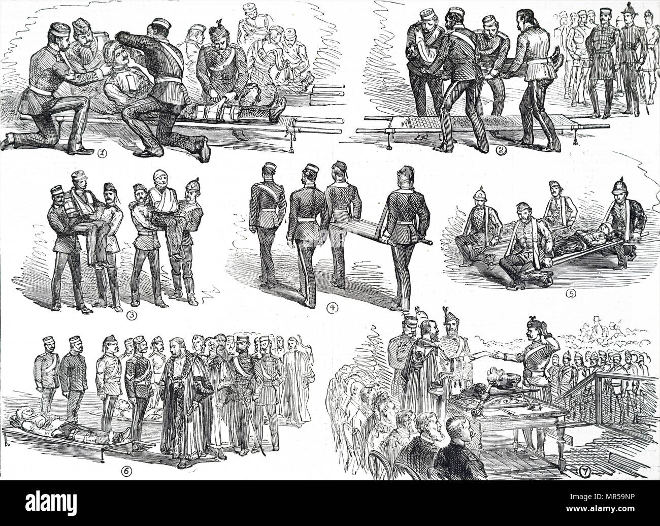 Engravings depicting the ambulance squad of the 2nd Middlesex Artillery Volunteers giving a demonstration before the Lord Mayor of London in Guildhall. Dated 19th century - Stock Image