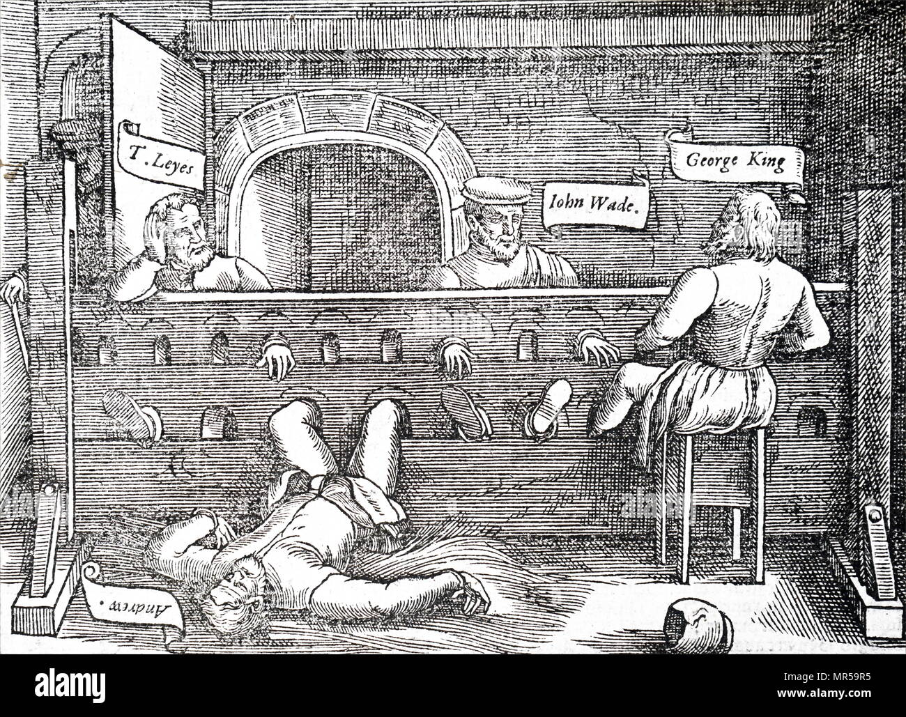 Woodblock engraving depicting Lollards prisoners confined in the stocks within Lollards Tower, Lambeth, which took it's name from them. The Lollards were a reformist Christian sect led by John Wycliffe. Pictured is Thomas Leyes, John Wade, George King and Andrew. Dated 16th century - Stock Image
