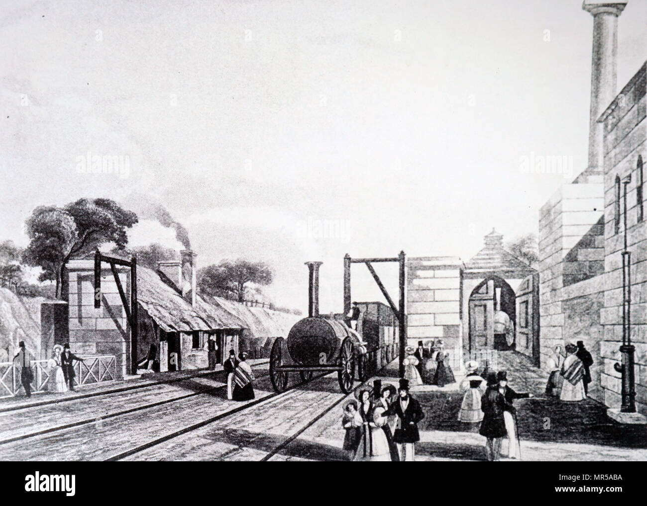 Engraving depicting the construction of the Liverpool-Manchester railway line. Dated 19th century - Stock Image