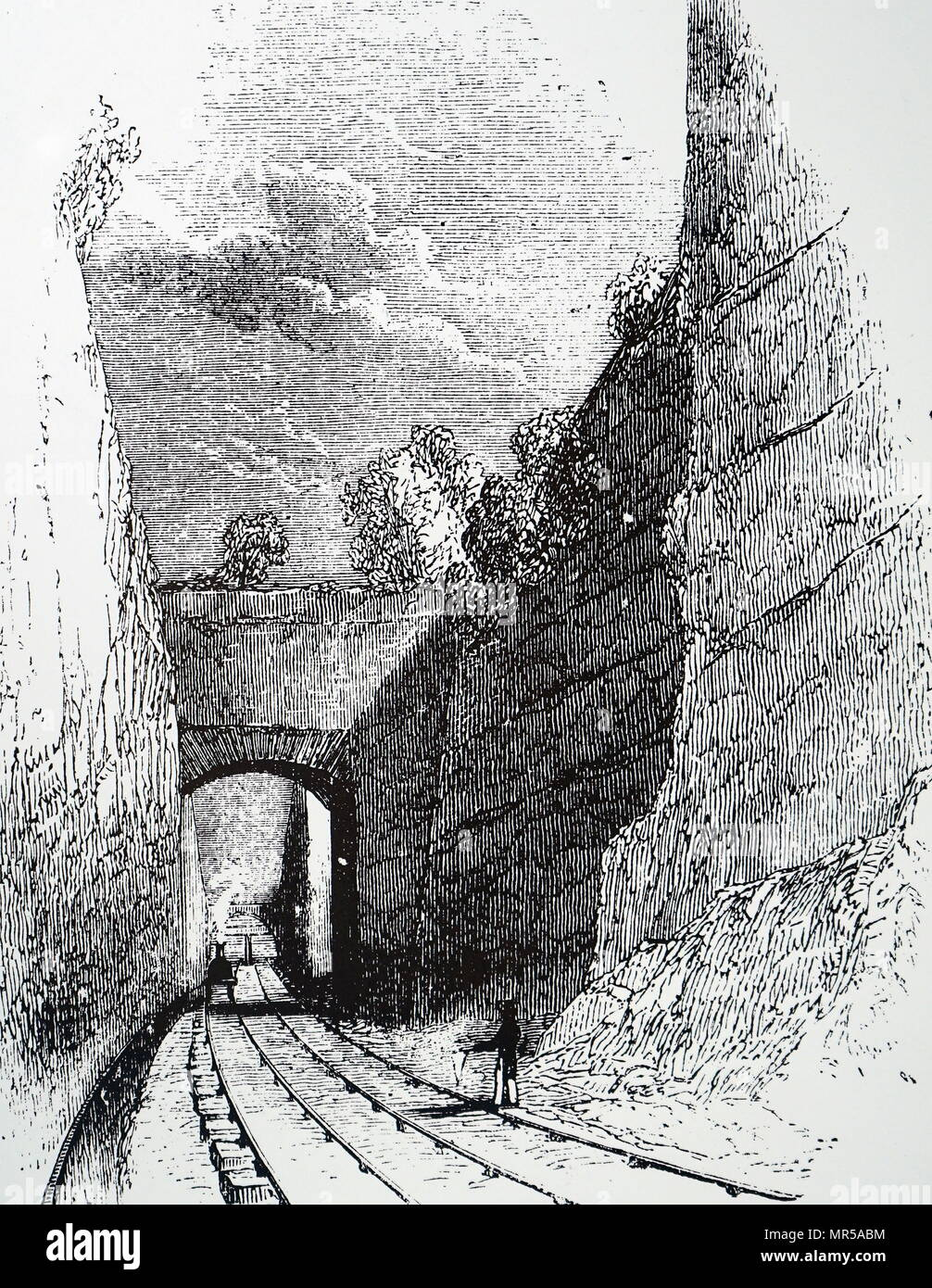 Engraving depicting the Olive Mount cutting, a 2 miles sandstone railway cutting, 4 miles from Liverpool, along the railway to Manchester, which was opened in 1830. Dated 19th century - Stock Image