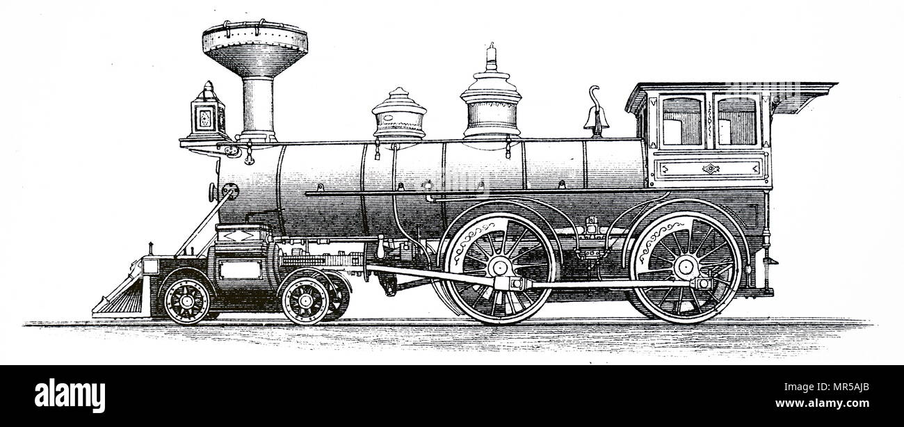 Engraving depicting a 4-4-0 American Express Locomotive. Under the Whyte notation for the classification of steam locomotives by wheel arrangement, 4-4-0 represents the arrangement of four leading wheels on two axles, usually in a leading bogie, four powered and coupled driving wheels on two axles, and no trailing wheels. Dated 19th century - Stock Image