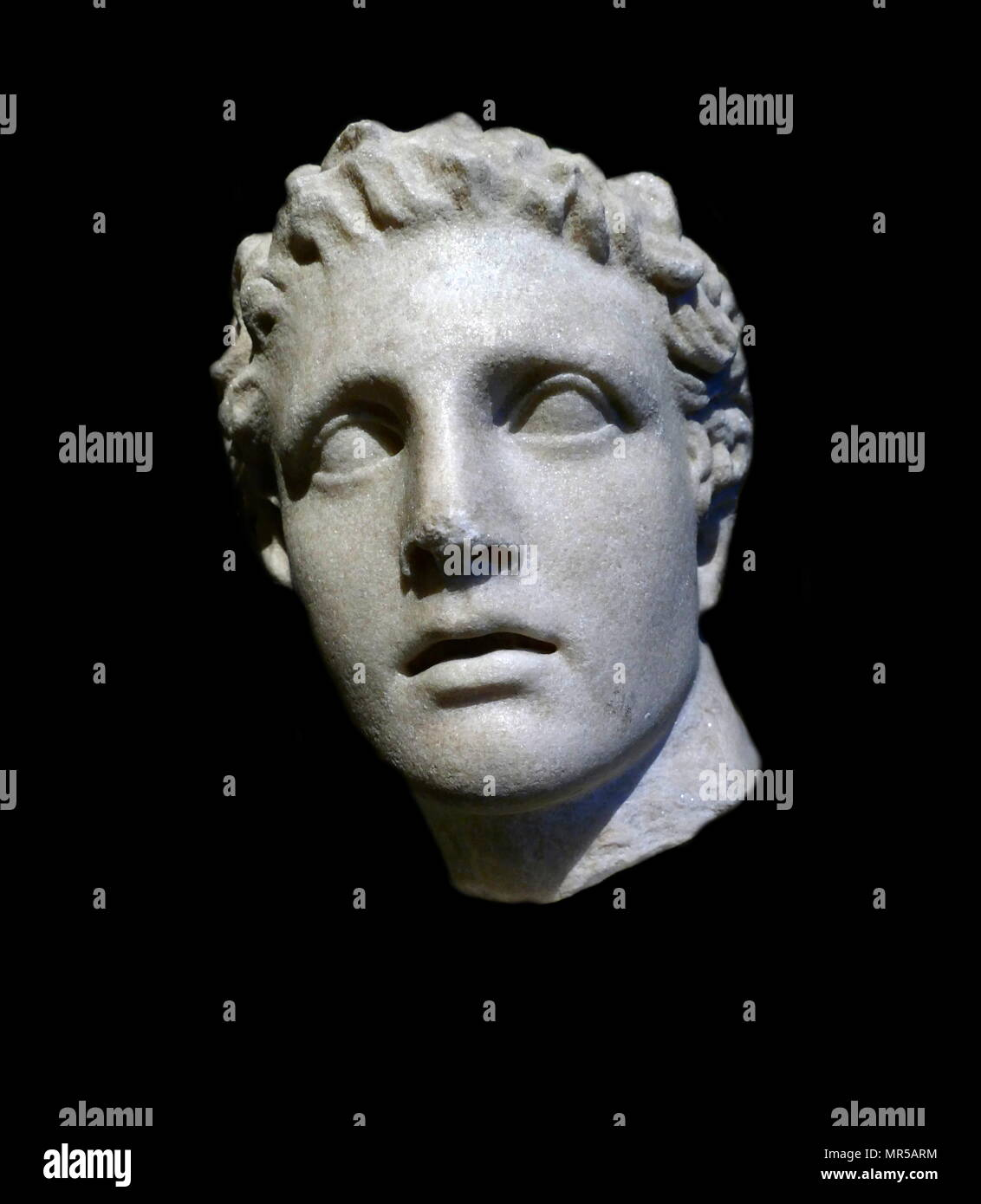 Copy of a 2nd century BC head of the Greek God Ares, God of War. Dated 2nd Century BC - Stock Image