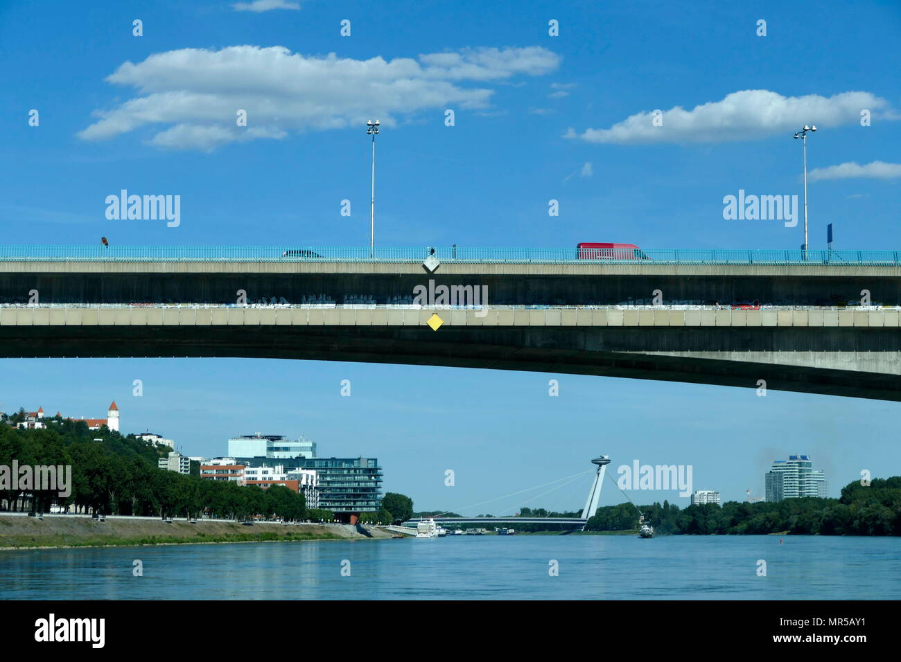 Photograph of taken of bridges spanning the length of the River Danube in Bratislava, the capital of Slovakia. Dated 21st Century - Stock Image