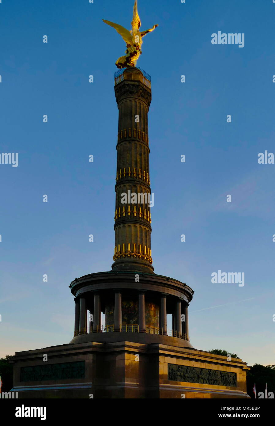 Photograph of the Victory Column (Siegessaule) Monument in Berlin, Germany. Designed by Heinrich Strack, after 1864 to commemorate the Prussian victory in the Danish-Prussian War. Heinrich Strack (1805-1880) a German architect of the Schinkelschule. Dated 21st Century - Stock Image