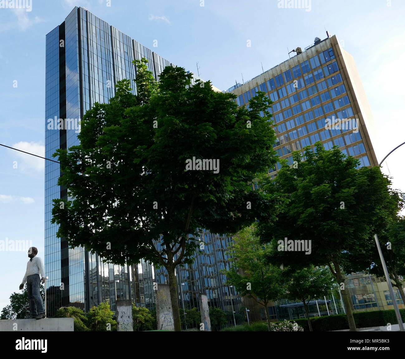Photograph of the Headquarters of Axel Springer International, Berlin, Germany. Axel Springer SE is one of the largest digital publishing houses in Europe, with numerous multimedia news brands, such as BILD, WELT, and FAKT and more than 15,000 employees - Stock Image