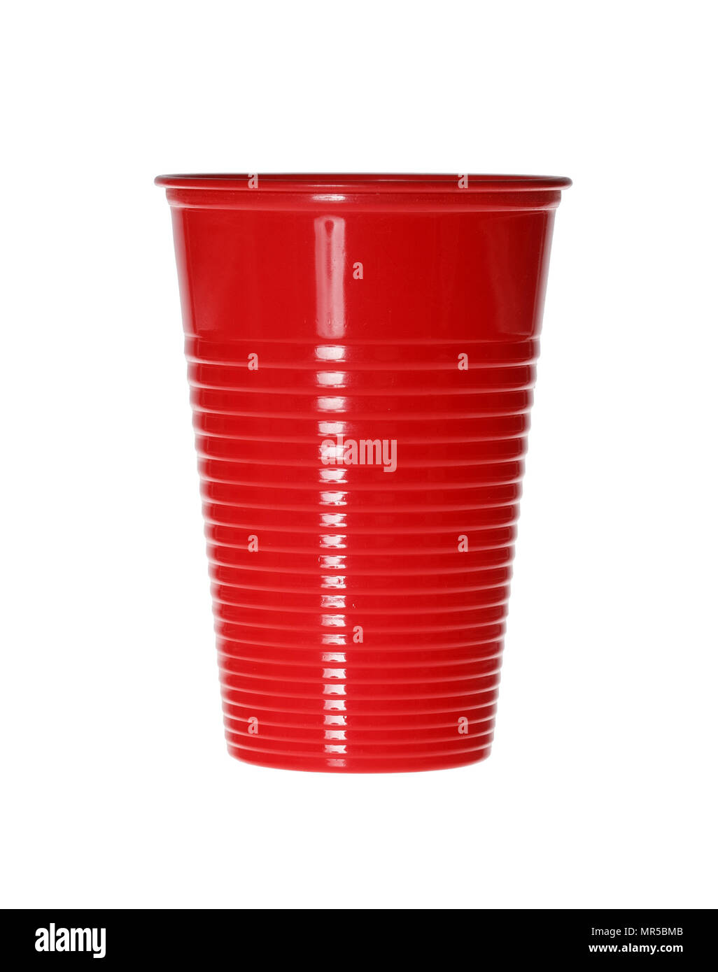 Red Plastic Cup isolated on white. - Stock Image