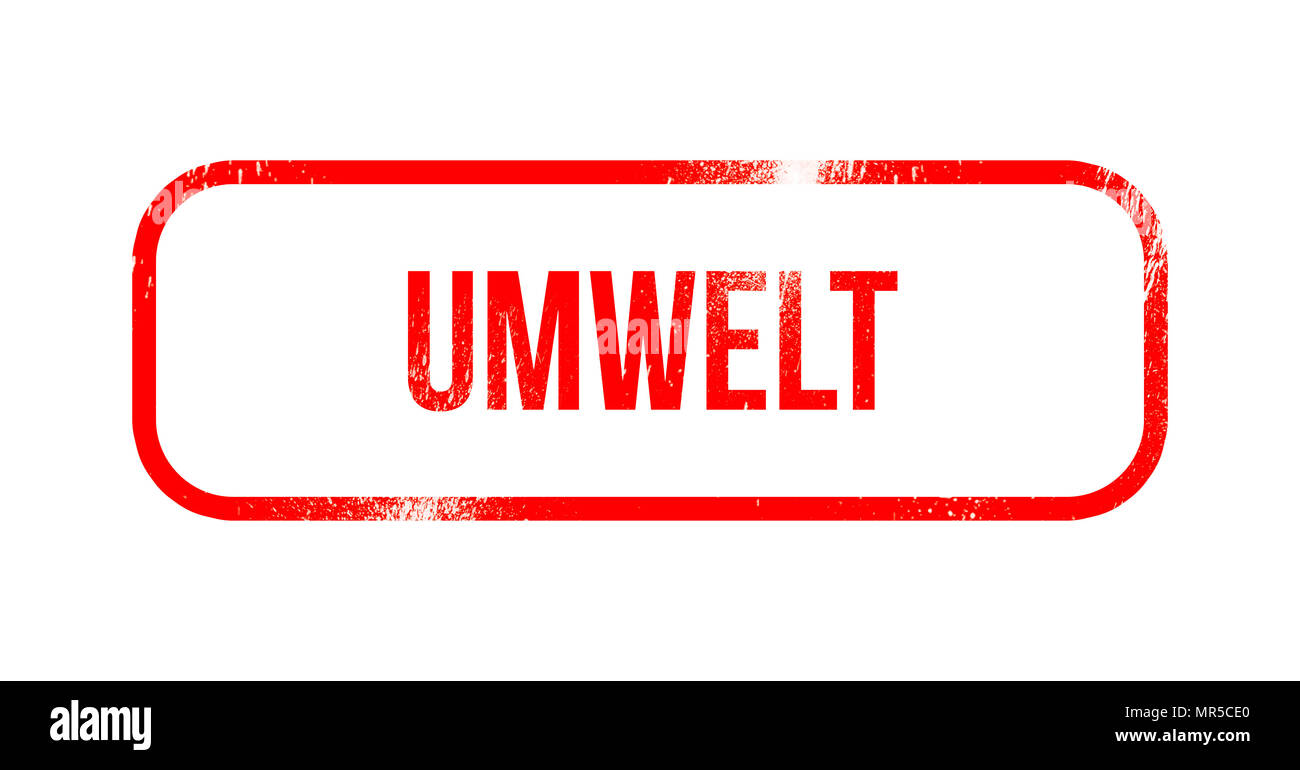 umwelt - red grunge rubber, stamp - Stock Image