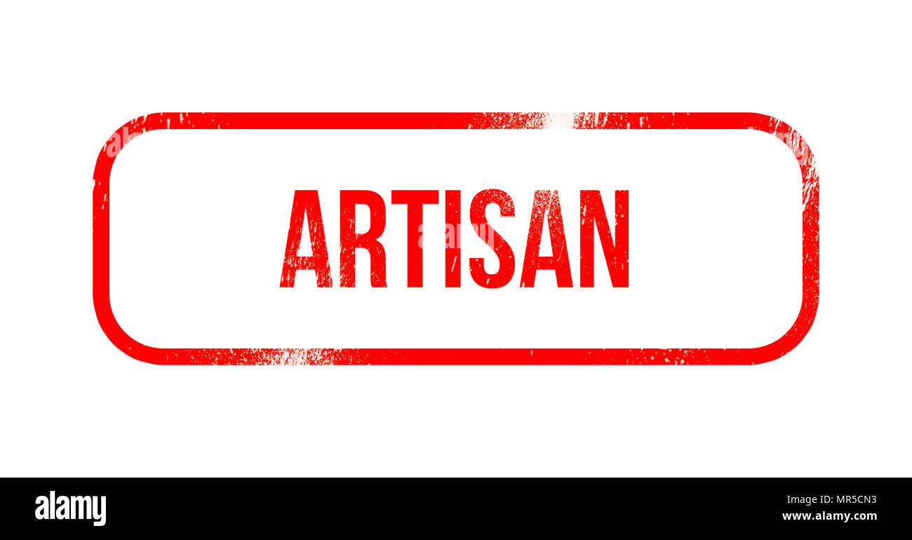 Artisan - red grunge rubber, stamp - Stock Image