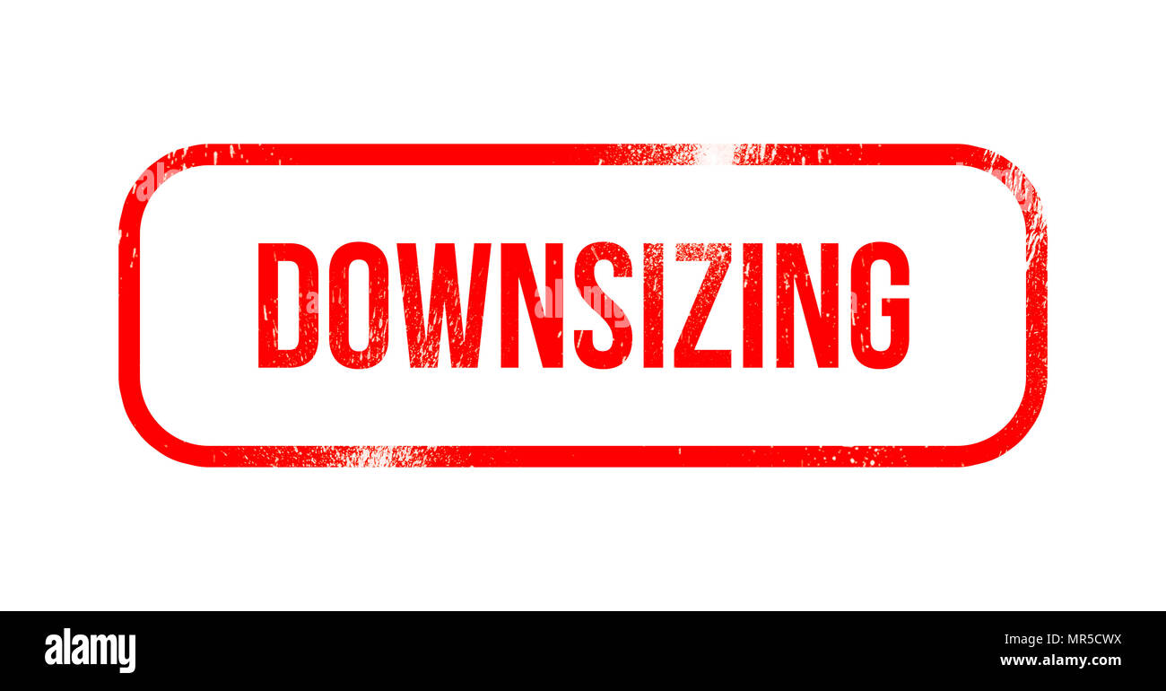 Downsizing - red grunge rubber, stamp - Stock Image