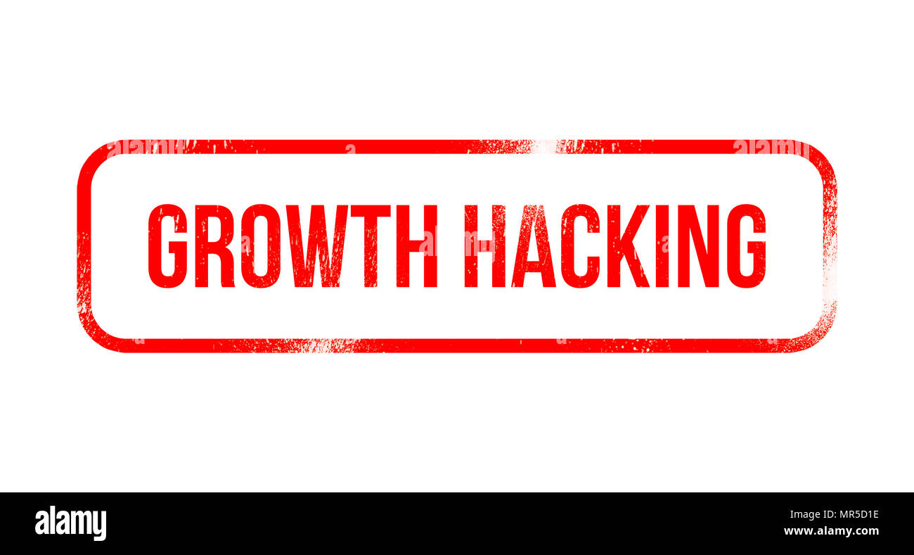 Growth Hacking - red grunge rubber, stamp - Stock Image