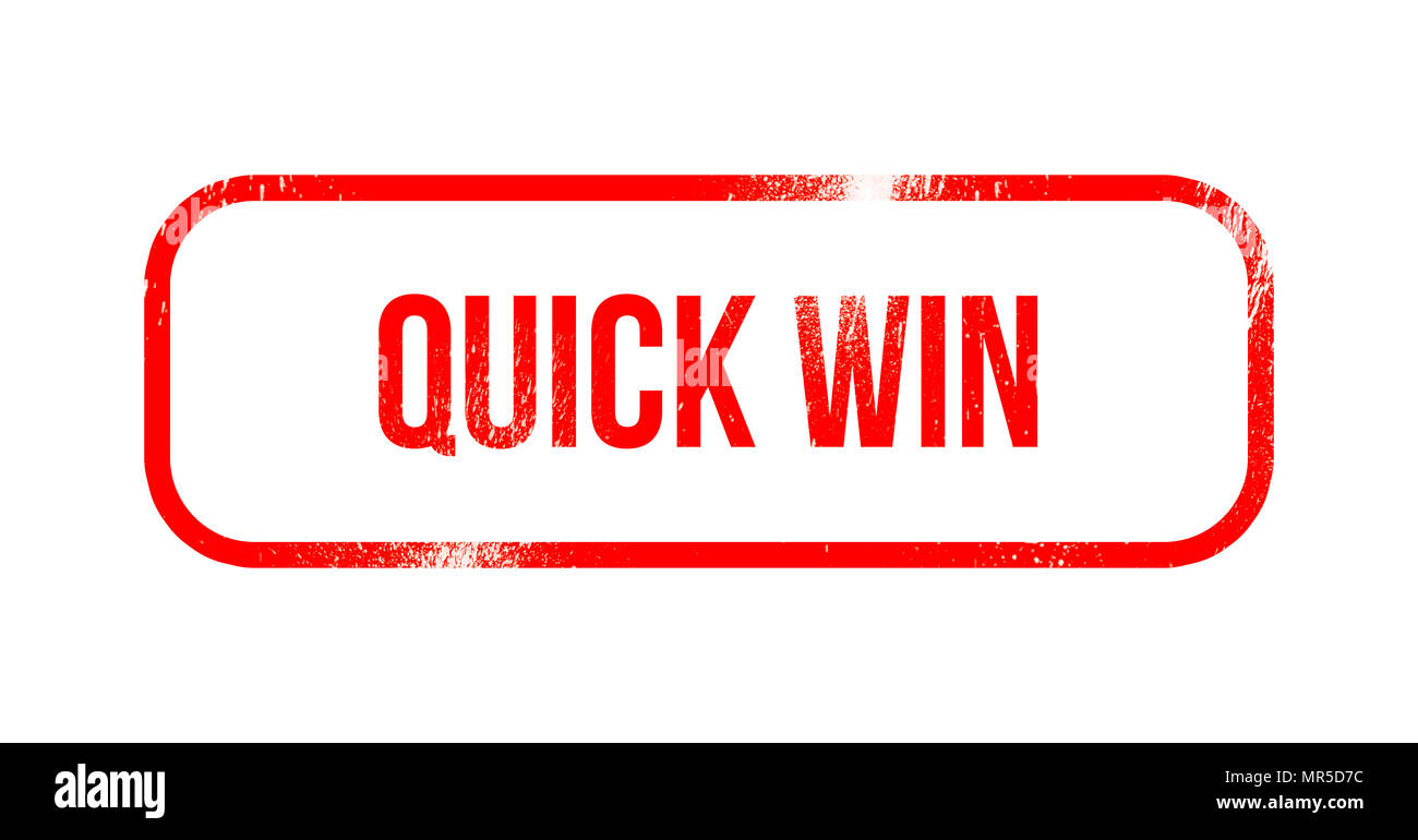 Quick win - red grunge rubber, stamp - Stock Image