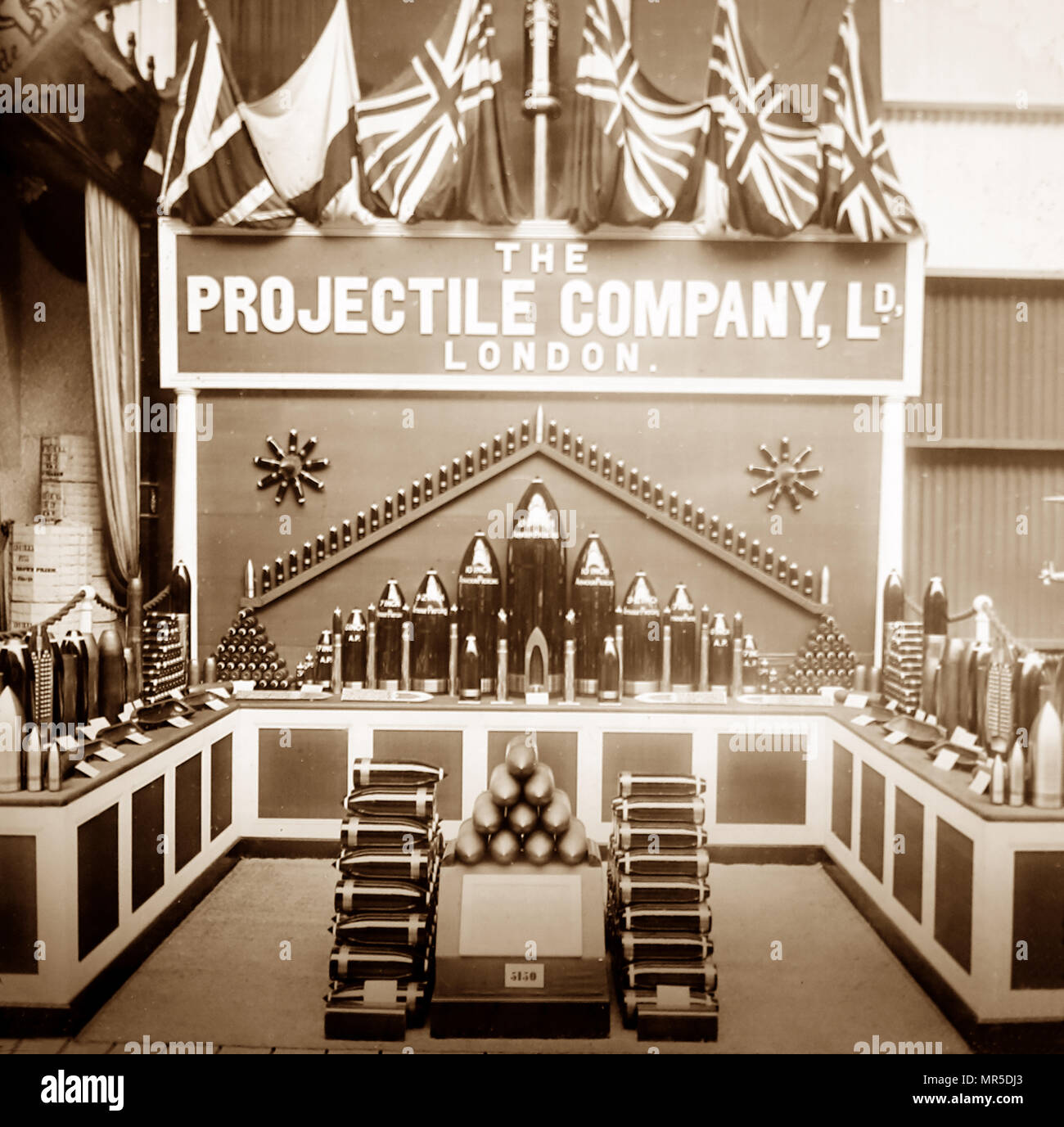 Stand of the Projectile Company Ltd at the Royal Naval Exhibition in 1891 - Stock Image