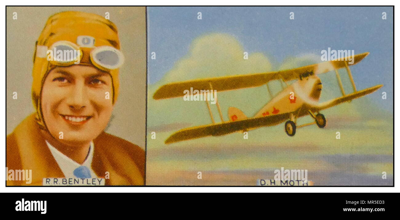 South African aviator Lt R R Bentley and his de Havilland Moth aircraft 'Dorys' attempting attempt the first solo flight from England to South Africa 1927 - Stock Image