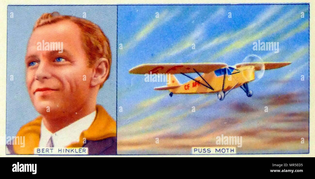 Herbert John Louis Hinkler (1892 – 1933), better known as Bert Hinkler, was a pioneer Australian aviator. In 1931 Hinkler flew in a de Havilland Puss Moth from Canada to New York then non-stop to Jamaica, then to Venezuela, Guyana, Brazil, and then across the South Atlantic to Africa; - Stock Image