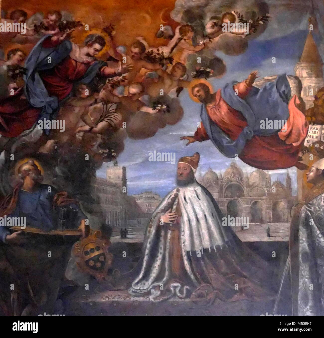 Doge Pietro Loredan Beseeching the Virgin, by Jacopo Palma il Giovane, 1595, Ducal Palace, Venice - Stock Image