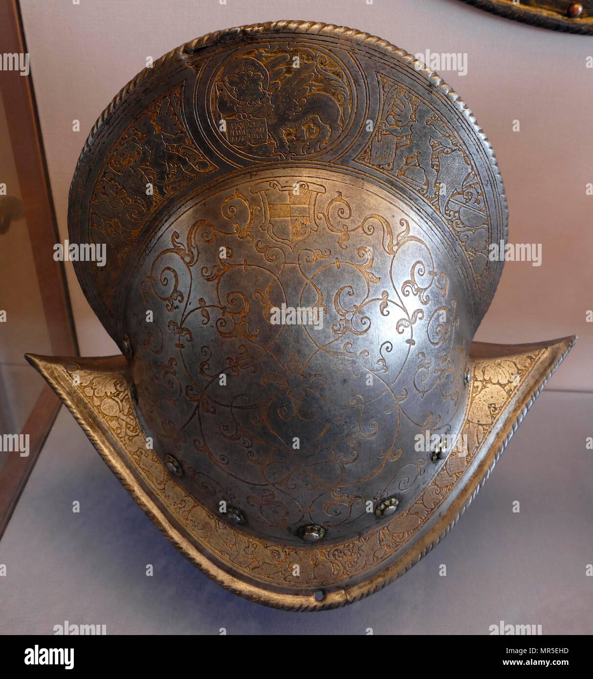 Venetian 16th century helmet worn by a soldier of the Doge's army - Stock Image