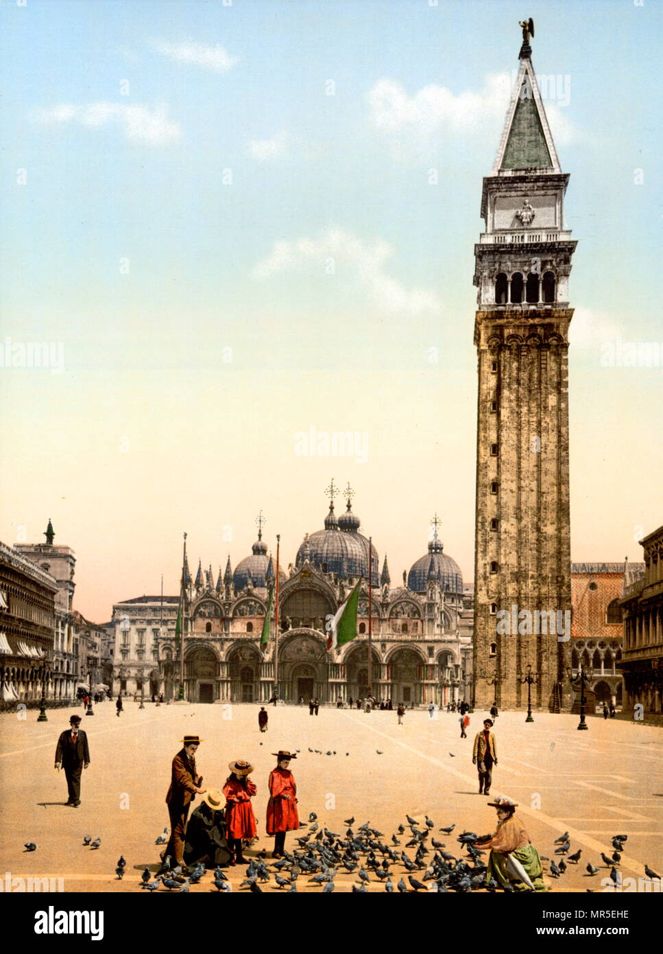 St Mark's Campanile (Campanile di San Marco) in Venice, Italy photographed two years before it collapsed 1900. located in the Piazza San Marco. It is one of the most recognizable symbols of the city. The campanile collapsed 1902 and was re-built in 1912 - Stock Image
