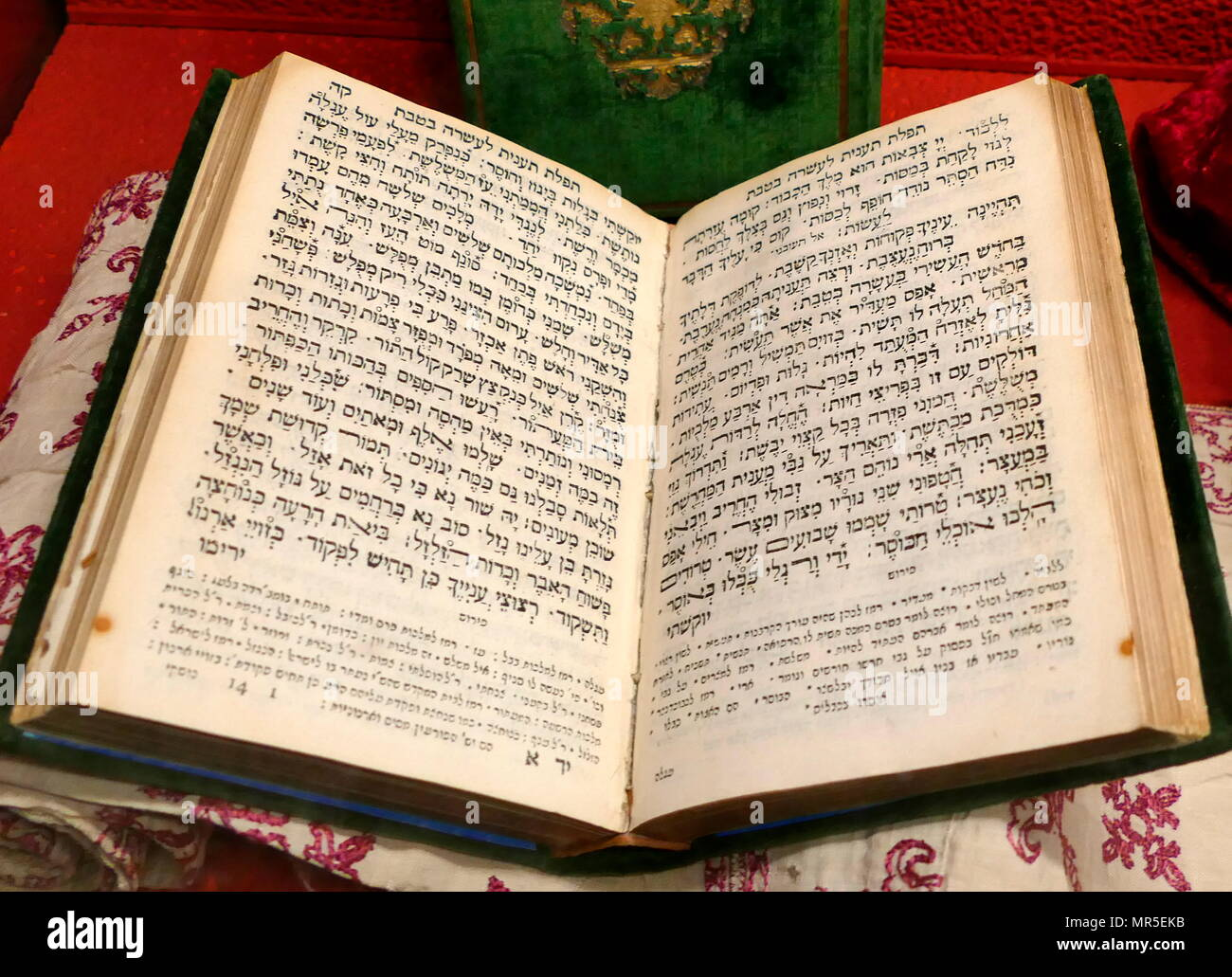 traditional Siddur or order of service, book, used for  festivals and celebrations, by the Jews of Venice. 18th century - Stock Image
