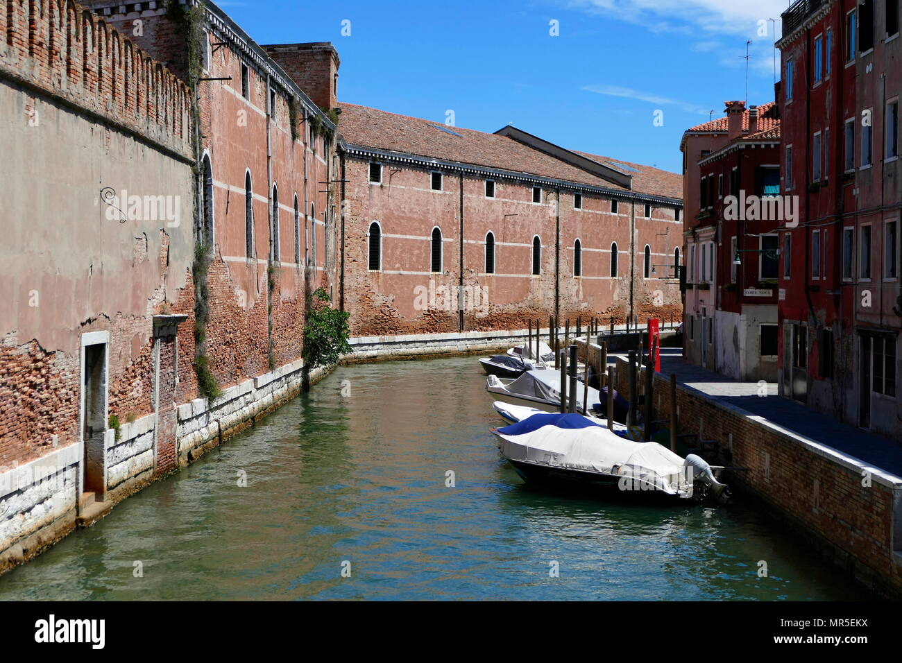 The Venetian Arsenale; a complex of former shipyards and armouries clustered together in the city of Venice in northern Italy dating from 12th century AD - Stock Image