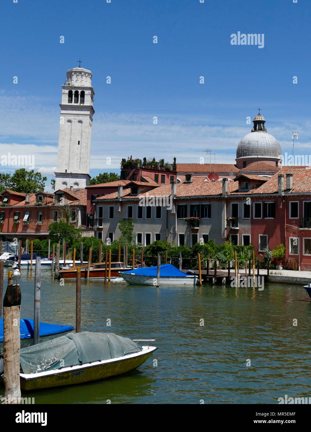 buildings in the Venetian Arsenale district; This area was a complex of former shipyards and armouries clustered together in the city of Venice in northern Italy, dating from 12th century AD - Stock Image