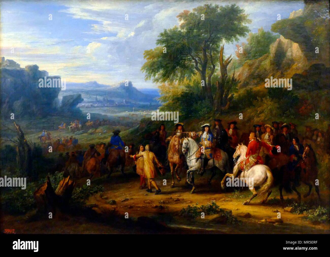 Prince Condé à la prise d'une v Ille à Flandres Prince Condé (at the Taking of a Flemish Town) Oil on canvas, c1650, by Adam Van der Meulen. - Stock Image