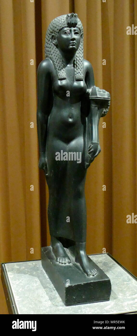 Statuette of Queen Cleopatra VII of Egypt; Basalt, 1st Century BC - Stock Image