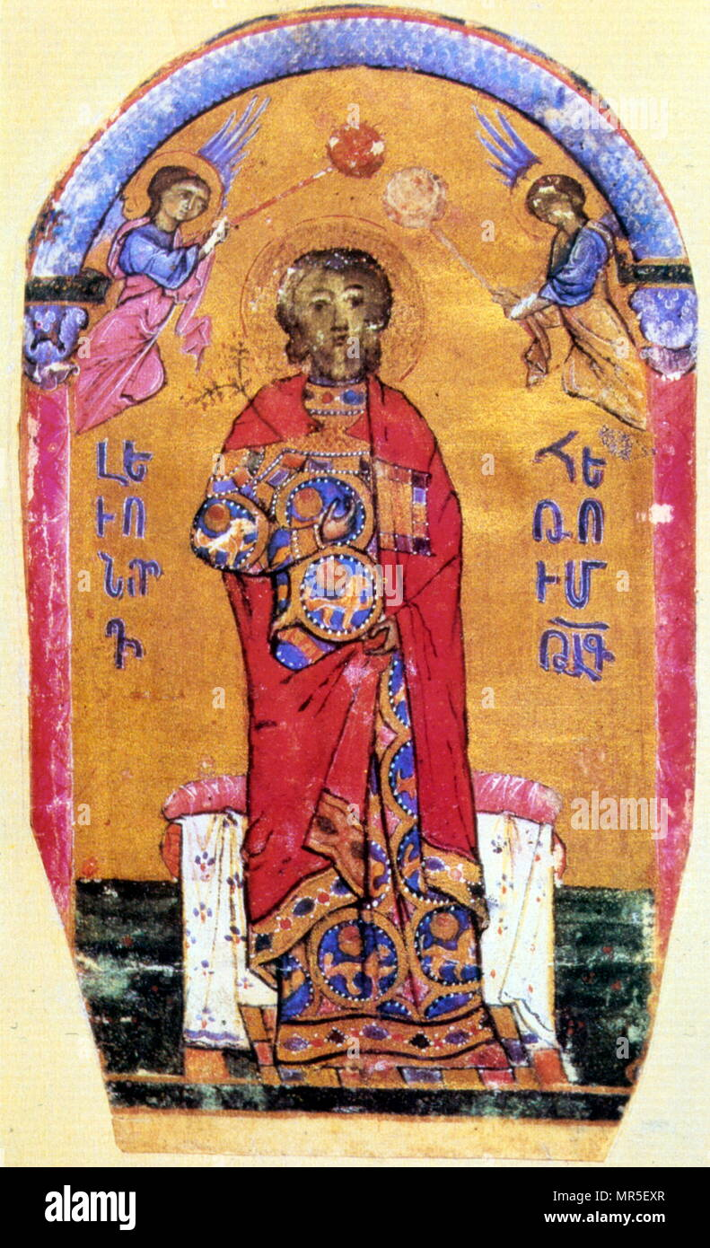 Armenian Christian illustrated manuscript showing Leo I(Levon); I, the fifth lord of Armenian Cilicia. In the 12th century, he learned to exploit the open, yet restrained, hostilities between the Byzantine Empire and the Crusader principalities of Edessa and Antioch. 14th century - Stock Image