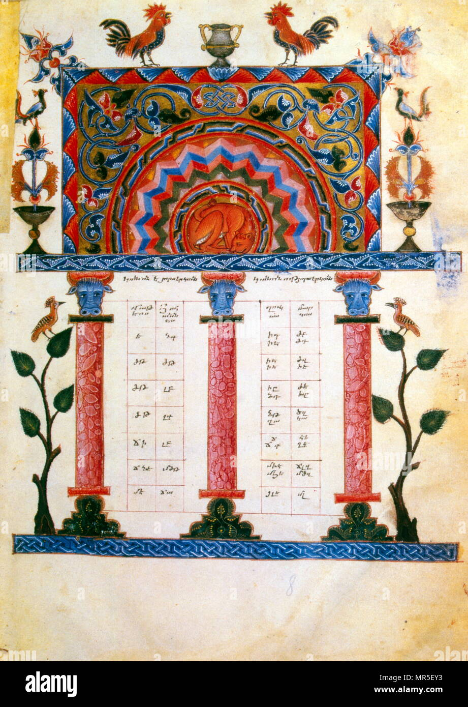 Armenian Christian illustrated manuscript showing a canonical concordance; 14th century - Stock Image