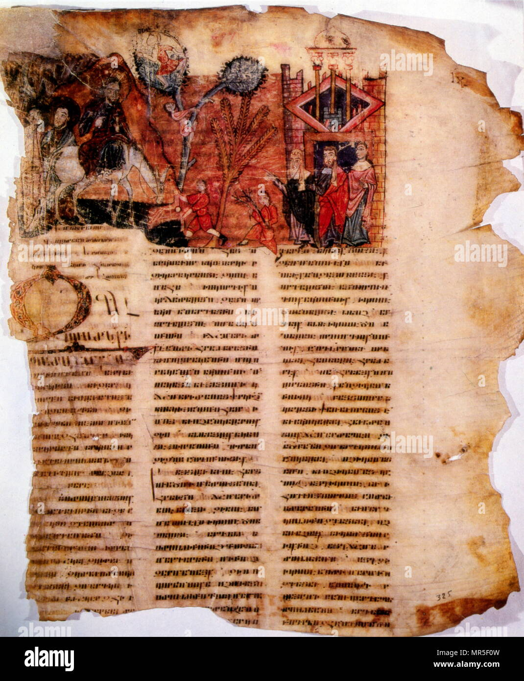 Armenian Christian illustrated manuscript, 10th century. Showing the entry of Christ into Jerusalem Stock Photo