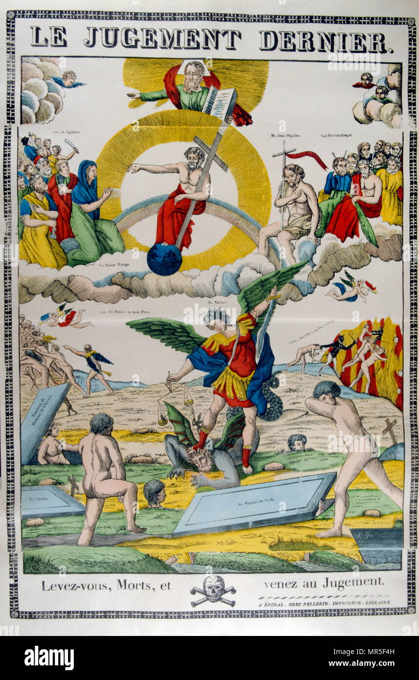 The Final Judgement; 19th century French allegorical woodcut depicting the route to Heaven and salvation or Hell and damnation, according to Christian narrative - Stock Image