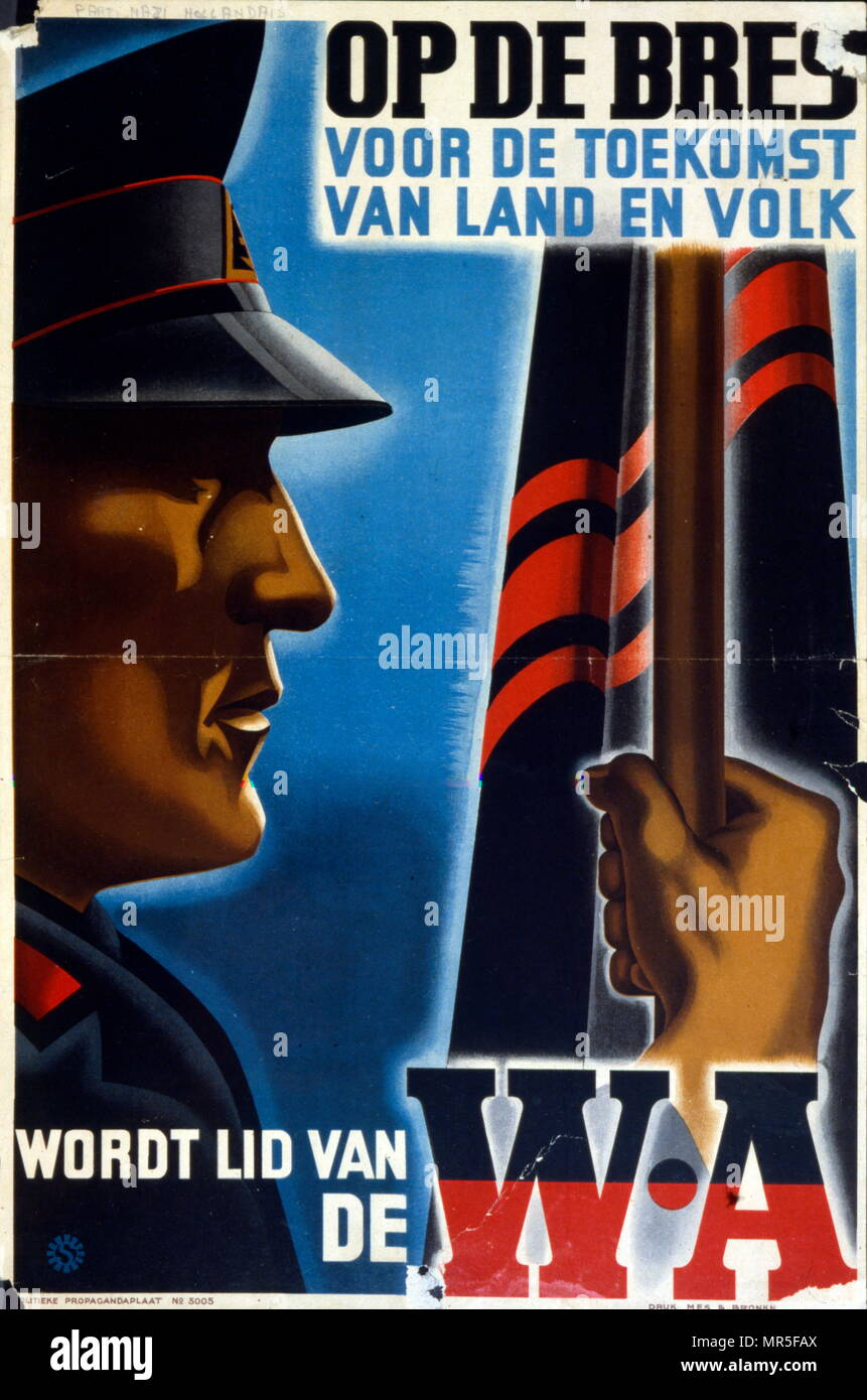 Dutch World war two Nazi Party Poster, issued during the German occupation 1940-1944 - Stock Image