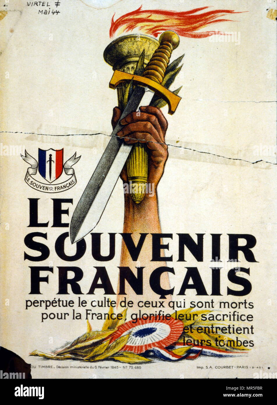 Propaganda poster issued by the Vichy French government to commemorate war dead. February 1944 - Stock Image