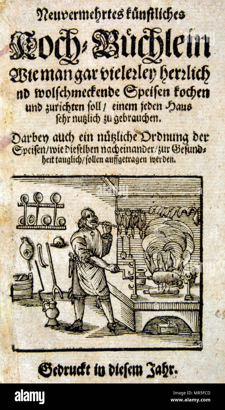 Title page from a 17th century German cookery book - Stock Image